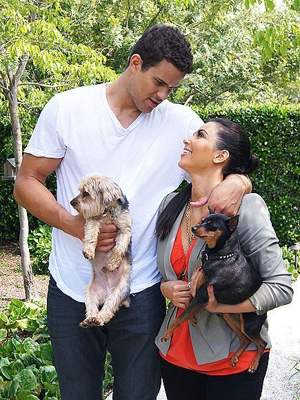 Kim Kardashian with husband and pets